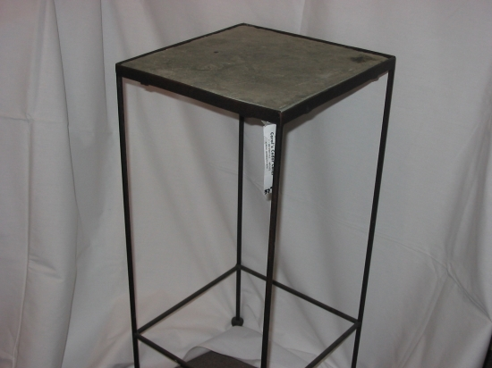Shown: Table, Slate Top, Iron Base, 24 In. Tall, Top 11 In. Square $37.95.  Not Shown: Table, Slate Top, Iron Base, 26 In. Tall, Top 12 1/4 In. Square  $49.95